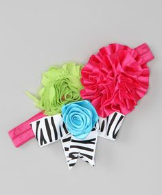 Take a look at this Hot Pink & Green Rosette Headband by Born Posh on #zulily today!