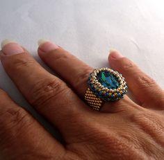 Tutorial Indicolite Oval Ring Bead pattern by Ellad2 on Etsy