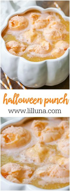 Halloween Punch is made with orange juice, pineapple juice, Sprite, orange gelatin and orange Sherbet - perfect for ALL ages! Halloween Desserts, Halloween Goodies, Halloween Food For Party, Easy Halloween, Halloween Treats, Halloween Drinks Kids, Halloween Halloween, Orange Recipes, Fall Recipes