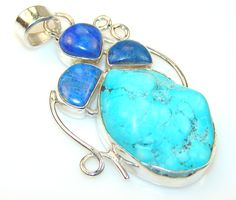 $55.20 Natrural Turquoise Sterling Silver Pendant at www.SilverRushStyle.com #pendant #handmade #jewelry #silver #turquoise