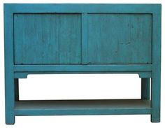 Lily Turquoise 2-Door Sideboard With Bottom Shelf - farmhouse - Buffets And Sideboards - Madera Home