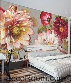 A beautiful dream fresh bloom pink peony rose oil painting effect wall art wall decor mural wallpaper wall  IDCWP-000282