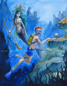Mermaid Fantasy Watercolor Art Print  Encounter by ADKArtsBoutique