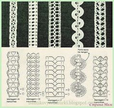 Irish lace, crochet, crochet patterns, clothing and decorations for the house, crocheted. Crochet Edging Patterns, Crochet Borders, Crochet Diagram, Crochet Motif, Irish Crochet, Knitting Patterns, Crochet Cord, Thread Crochet, Crochet Trim
