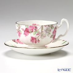 Einzurei Elizabeth Rose pink tea cup and saucer (Oban)
