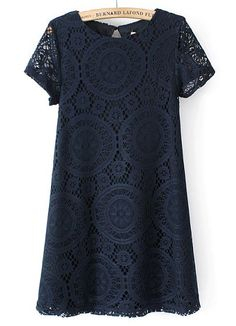 Navy Short Sleeve Hollow Lace Loose Dress US$28.33
