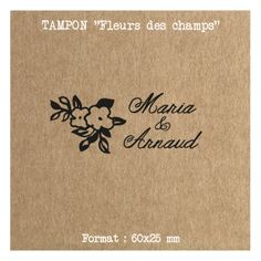 Tampon mariage prénoms & date personnalisé - Fleurs des champs -