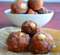 Dulce de leche and eggnog filled donut holes (Sufganiot)