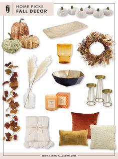 Fall Home Decor   Fashion Jackson, pumpkins, fall decor, home decor for the fall, how to decorate for fall, fall pillows, fall wreath, fall candle, pampas grass
