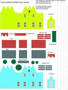 Printable Miniature Putz or Glitter Christmas Houses