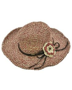 Womens Boho Brick Red Wide Brim Floppy Hat Crochet Flower Leather Trim Sun Hat Brick / 90% Paper, 10% Polyester / Upf 50+ / Excellent Uv Protection /