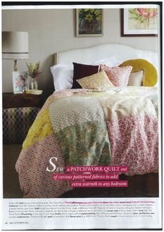 Sew a patchwork quilt out of various patterned fabrics to add extra warmth to any bedrom. Natural Home Decor, Kitchen Linens, Table Linens, Linen Bedding, Nook, Sewing Crafts, Comforters, Pure Products, Quilts