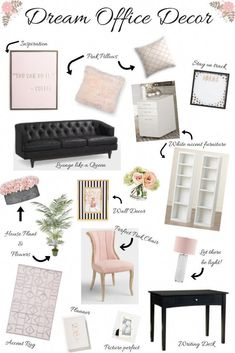 Dream Office Decor: Classic, Feminine Design - Blissfully Bubbly : Classic, feminine office decor that is timeless and energizing all at the same time. The perfect office decor is a must to keep you motivated and on track. Feminine Office Decor, Chic Office Decor, Home Office Space, Home Office Design, Design Desk, Office Designs, Home Office Organization, Diy Bedroom Decor, Home Decor