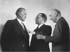 Konrad Adenauer, Alcide De Gasperi e Robert Schumann al vertice cristiano democratico di Colonia del 1946. | Konrad Adenauer, Alcide De Gasperi and Robert Schumann at the Christian Democrat summit in Cologne, 1946.