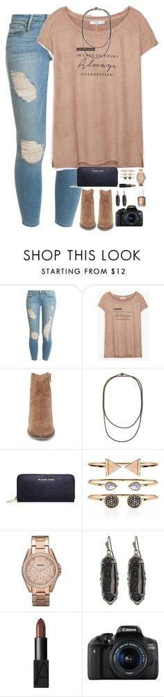 """""""you are enough."""" by kaley-ii ❤ liked on Polyvore featuring Frame Denim, MANGO, Steve Madden, Brunello Cucinelli, MICHAEL Michael Kors, Accessorize, FOSSIL, Kendra Scott, NARS Cosmetics and Canon"""
