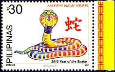 Philippines.  2013 YEAR OF THE SNAKE.  COBRA. CatNo Mi-4678 Issued 2012-12-12, Php 30. /ldb.