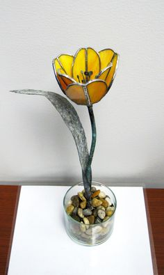 Tulip in Yellow/Orange  Stained Glass - Cyber Monday Special -15% OFF. $55.00, via Etsy.