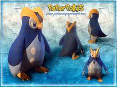 394 / PRINPLUP - Pokémon Papercraft Name:  Prinplup  Type:  Water  Species:  Penguin Pokémon  Height:  0.79 m (2′07″)  Weight:  23.0 kg (...