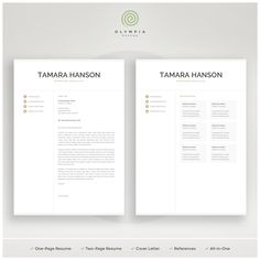 Use a professionally designed resume template pack to present you resume, cover letter and references in a consistent and effective way. One Page Resume Template, Modern Resume Template, Creative Resume Templates, Cv Template, Cover Letter For Resume, Cover Letter Template, Cover Letters, Resume References, Free Resume Examples