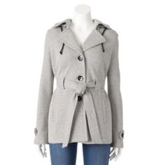 Sebby Hooded Fleece Belted Peacoat - Women's