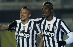 Arturo Vidal (L) of Juventus celebrates with teamt-mate Paul Pogba after scoring their fourth goal during the Serie A match between Atalanta BC and Juventus at Stadio Atleti Azzurri d'Italia on December 2013 in Bergamo, Italy. Premier League, Atalanta Bc, Andrea Pirlo, Oran, Paul Pogba, He Wants, Champions League, Manchester United, Sports News