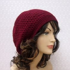 Wine Slouchy Crochet Hat - Womens Slouch Beanie - Burgundy O ...