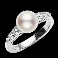 Pearl Ring, would love this for my engagement ring, but pearls are so delicate it would be hard to wear it daily and not damage it over time Pearl Jewelry, Jewelry Rings, Pearl Rings, Jewellery, Jewelry Shop, Jewelry Design, Traditional Engagement Rings, My Engagement Ring, Bling