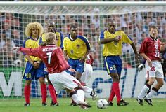 David Beckham Free Kick against Columbia @ World Cup 1998 #classic