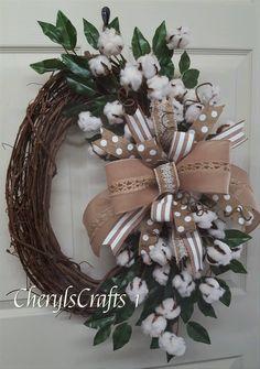 Cotton Wreath,Grapevine Wreath,Summer Wreath,Burlap Cotton Grapevine Wreath,Welcome Wreath by CherylsCrafts1 on Etsy