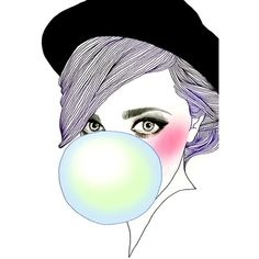 my work : Bubble Gum GirlbyHajin Bae ❤ liked on Polyvore featuring doodle and scribble