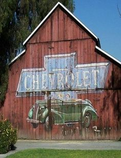 I want this painted on the side of my barn. But with a Chevy truck Country Barns, Country Life, Country Living, Country Roads, American Barn, American Flag, Barn Signs, Barn Art, Barns Sheds