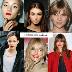 """The French Girl Look """"MAKEUP is very natural, and serves to enhance rather than modify facial features. Skin looks clean and fresh, the red lip is a major go-to, and eye makeup is more about mascara and eyeliner than heavy eyeshadows."""""""