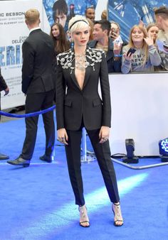 Cara Delevingne attends the 'Valerian' European premiere at Cineworld Leicester Square on July 24 2017 in London England