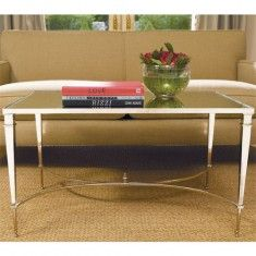 French Square Leg Table-Nickel and Mirror