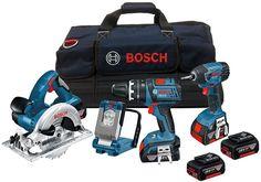 Bosch 18V Cordless 4 Piece Tool Kit LiIon batteries unique Bosch Premium Lithium
