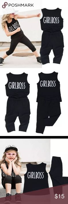 """👊🏻👧🏻Girl Boss Matching Set💪🏻 Perfect for both playing ⚽️🏀🥊😂 and making a statement """"I'm the boss"""", this two piece set is made of black cotton.    Please check the size chart for the correct size. 👟👟👟 Matching Sets"""