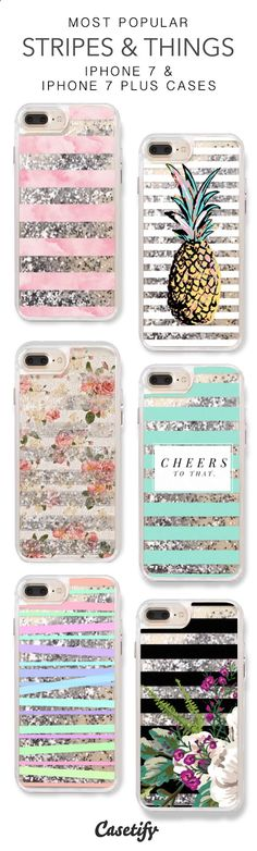 Most Popular Stripes & Things iPhone 7 Cases & iPhone 7 Plus Cases. More liquid glitter iPhone case here > www.casetify.com/...