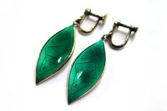 Oystein Balle Earrings Green Guilloche Enamel Leaf Vermeil