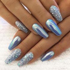 new years nails glitter / new years nails ; new years nails acrylic ; new years nails gel ; new years nails glitter ; new years nails dip powder ; new years nails design ; new years nails short ; new years nails coffin Cute Acrylic Nails, Acrylic Nail Designs, Nail Art Designs, Acrylic Art, Glitter Nail Designs, Holiday Acrylic Nails, Acrylic Nails Chrome, Chrome Nails Designs, Chrome Nail Art