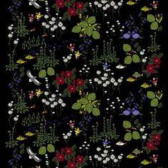 Himlajorden nennt sich dieser gelungene Baumwollstoff von Arvidssons Textil, der mit seinen Blumen, die für den kurzen schwedischen Sommer typisch sind, einen besonders lebendigen Ausdruck hat. Hergestellt in Schweden.