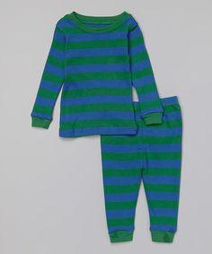 Blue & Green Stripe Pajama Set - Infant, Toddler & Boys