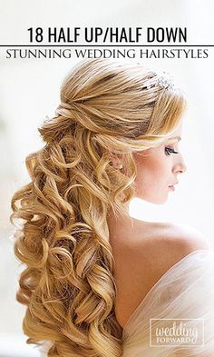 36 Stunning Half Up Half Down Wedding Hairstyles ❤ >> for long curly hair 18/36 stunning hairstyles! || See more: http://www.weddingforward.com/half-up-half-down-wedding-hairstyles-ideas/2/