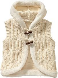 Hooded Cable-Knit Vests for Baby