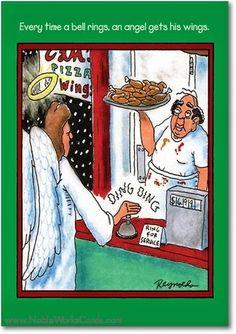 Funny Bell Rings Angel Wings Cartoon