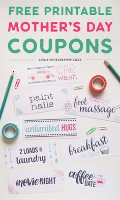 These free printable Mother's Day coupons are perfect as a sweet extra gift, or if you're just strapped for cash. I'm sure any mom will appreciate some pampering on her special day. Mother's Day Coupons, Gift Coupons, Online Coupons, Diy Gifts For Mom, Diy Mothers Day Gifts, Aunt Gifts, Grandparent Gifts, Mother Gifts, Mother's Day Printables