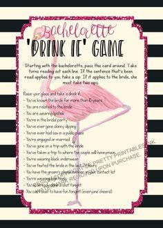 Printable bachelorette game/ bachelorette drinking game / bachelorette party game / drink if game / take a sip game / flamingo bachelorette by PrettyPrintablesInk on Etsy