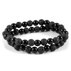Buy Fort Tempus - Black Stone Raw Bracelet for only Shop at Trendhim and get returns. Tiger Eye Bracelet, Skull Bracelet, Bracelet Cuir, Stone Bracelet, Bracelet Set, Black Bracelets, Bracelets For Men, Beaded Bracelets, Buddha Armband
