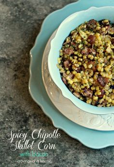 Spicy Chipotle Skillet Corn with Bacon #BaconMonth | Cravings of a Lunatic