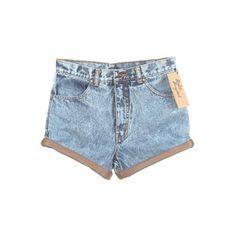 Acid Wash Blue Denim Shorts W/ Mushroom Leather Trim W ❤ liked on Polyvore