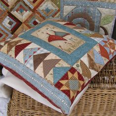 Hatched and Patched - Anni Downs Scrappy Quilts, Mini Quilts, Patchwork Quilting, Sewing Pillows, Diy Pillows, Decorative Pillows, Patchwork Cushion, Quilted Pillow, Anni Downs